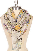 Tropical Floral Print Scarf - White