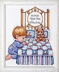 Bedtime Prayer Boy Birth Record - Counted Cross Stitch Kit