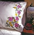 Fragrant Floral Pillowcase Pair - Stamped Embroidery Kit