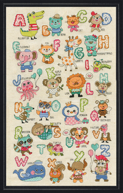 Vervaco Counted cross stitch kit Abc with animals DIY