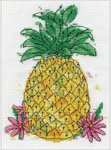 floss mesh canvas Crossstitchembroidery Candamar PINEAPPLE Welcome Picture 3009 counted Cross Stitch kit New in package