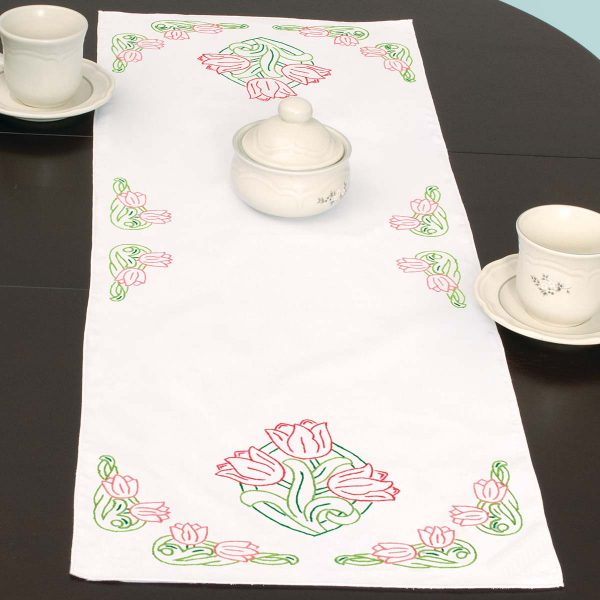 JACK DEMPSEY Stamped Embroidery Dresser Scarf Table Runner TULIPS