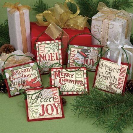 Dimensions 8827 Christmas Sayings Ornaments Counted Cross Stitch Kit