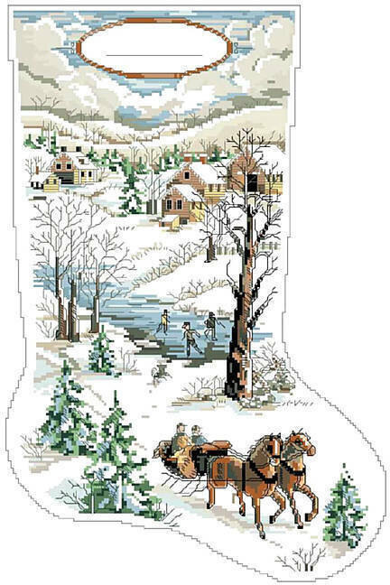 Kooler Design Studio Winter Scene Christmas Stocking Cross Stitch Pattern 123stitch