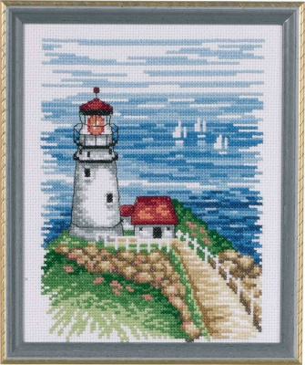 Lot of 2 Counted Cross Stitch Kits CLIFFSIDE BEACON~SCENIC LIGHTHOUSE