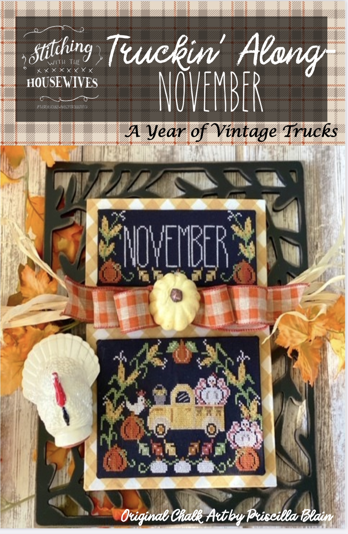 STITCHING WITH the HOUSEWIVES Truckin/' Along-August \u2022 Cross Stitch Pattern \u2022 Year of Vintage Trucks \u2022 Monthly Series Pattern Only