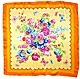 "Light Orange Polyester 23""x23"" Flower Satin Scarf"